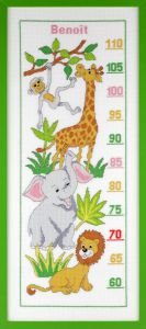 Embroidery kit growth shart zoo animals.