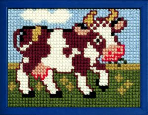 Embroidery kit happy cow for children, painted