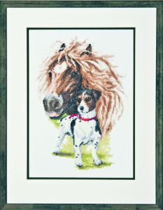 Embroidery kit horse with Jack Russell