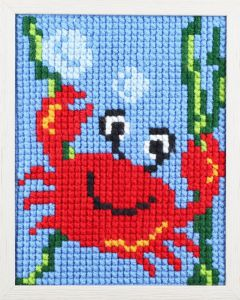 Embroidery kit jolly crab for children, painted