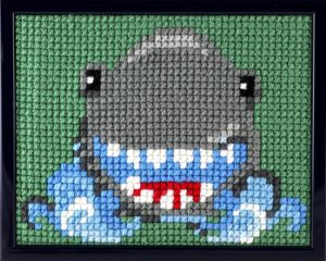 Embroidery kit laughing shark for children, painted