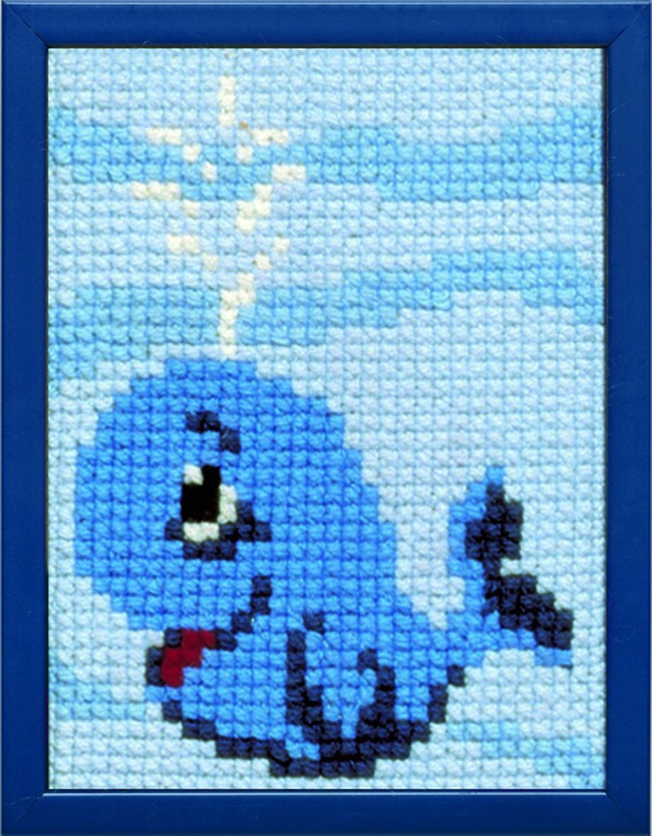 embroidery kit little blue wale for children printed