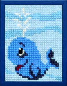 Embroidery kit little blue wale for children, printed.