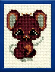 Embroidery kit little mouse for children, printed