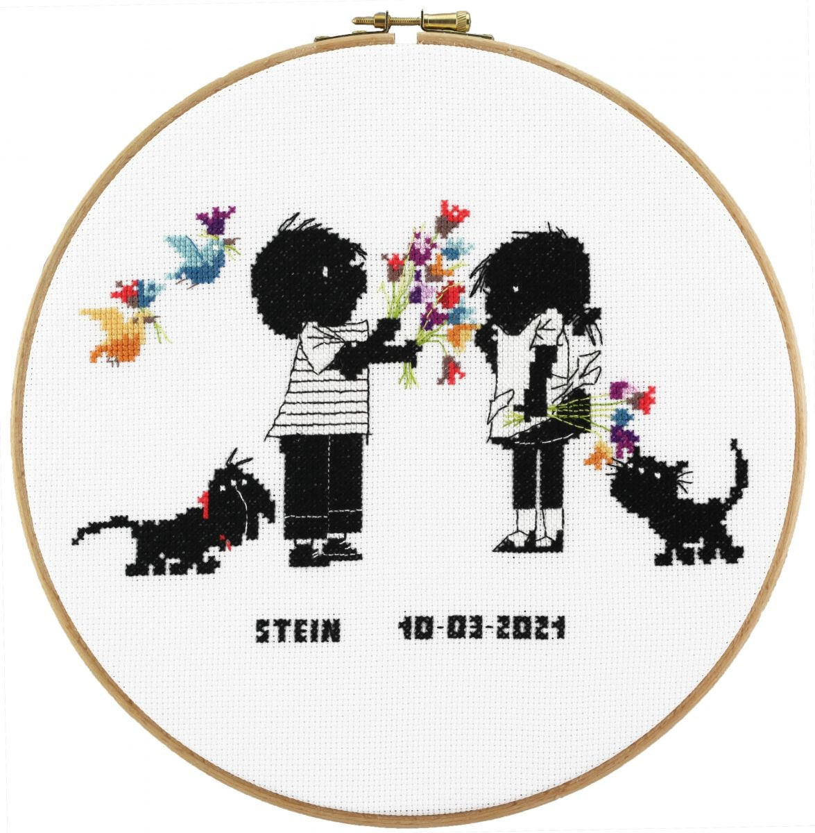 embroidery kit love friends jip janneke birthday sampler
