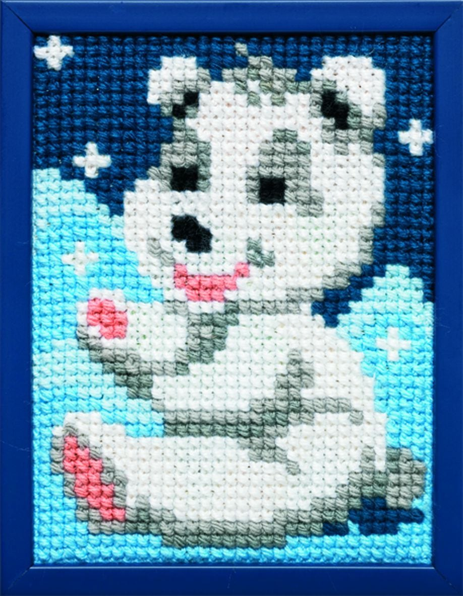 embroidery kit merry ice bear for children printed