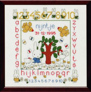 Embroidery kit Miffy birthday sampler, Dick Bruna