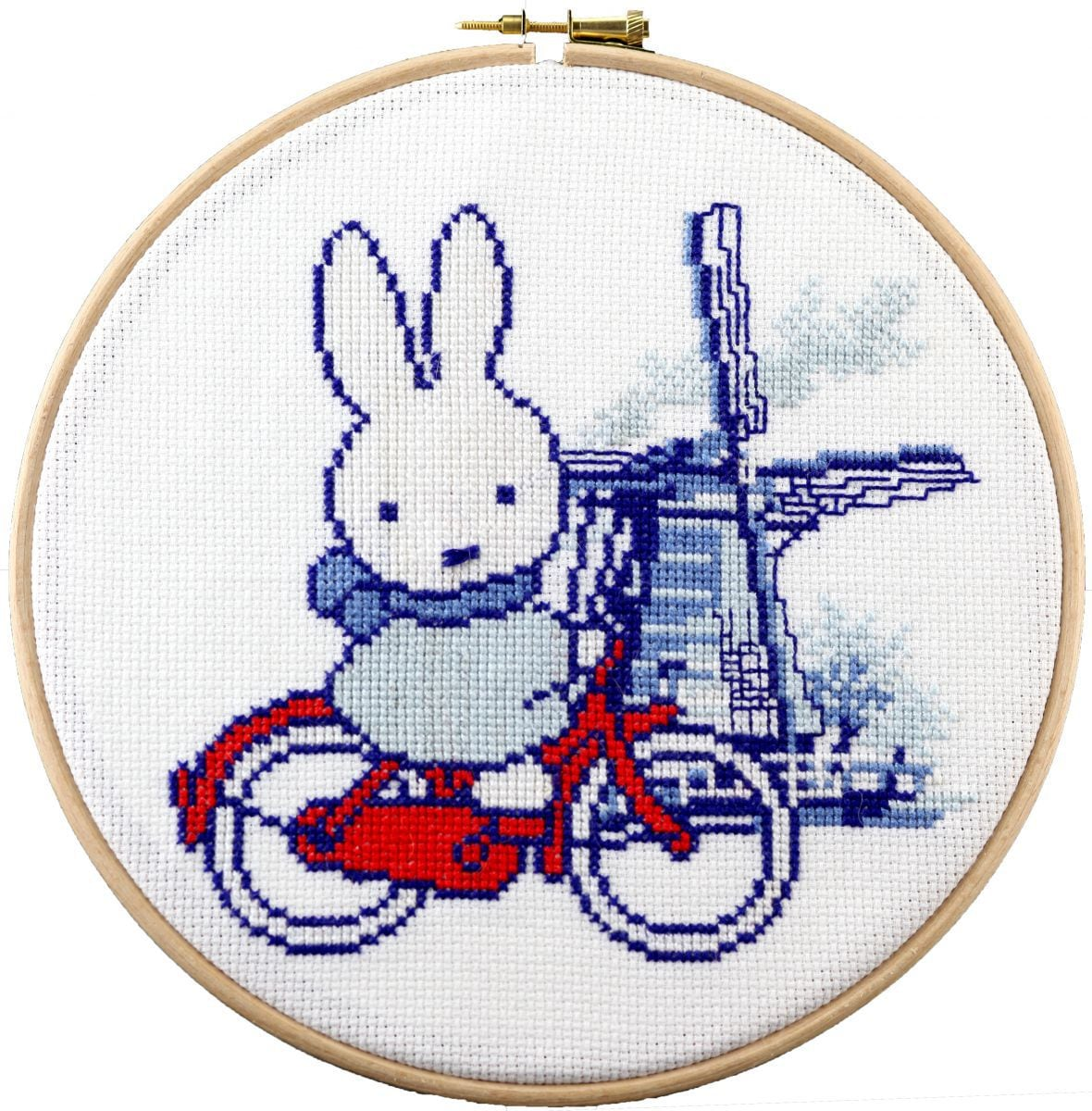 embroidery kit miffy cycling through the netherlands