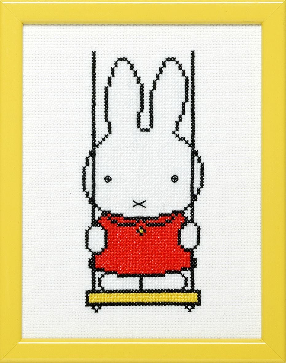 embroidery kit miffy on a swing dick bruna
