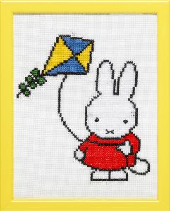 Embroidery kit Miffy playing with kite, Dick Bruna.