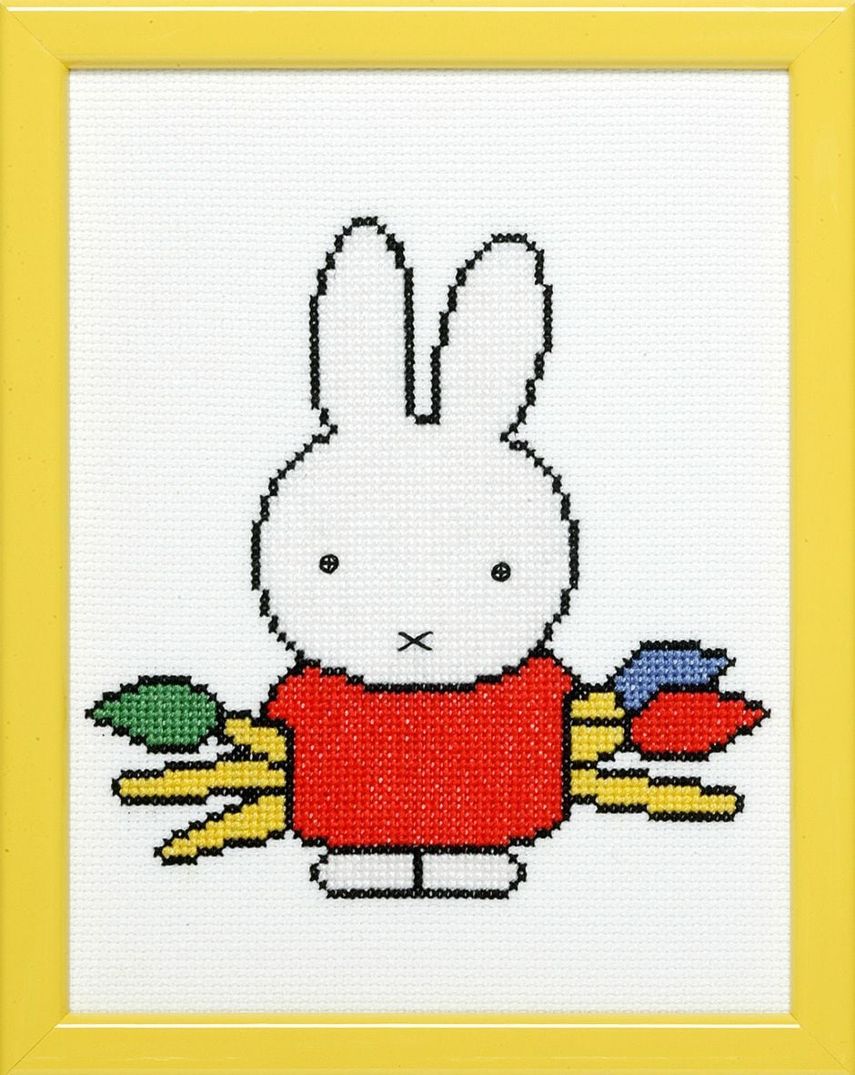embroidery kit miffy with paintbrushes dick bruna
