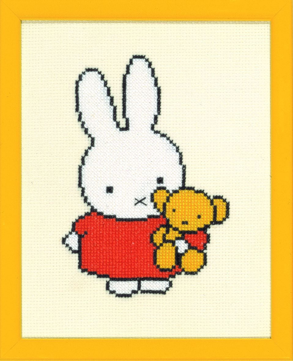 embroidery kit miffy with teddy bear dick bruna