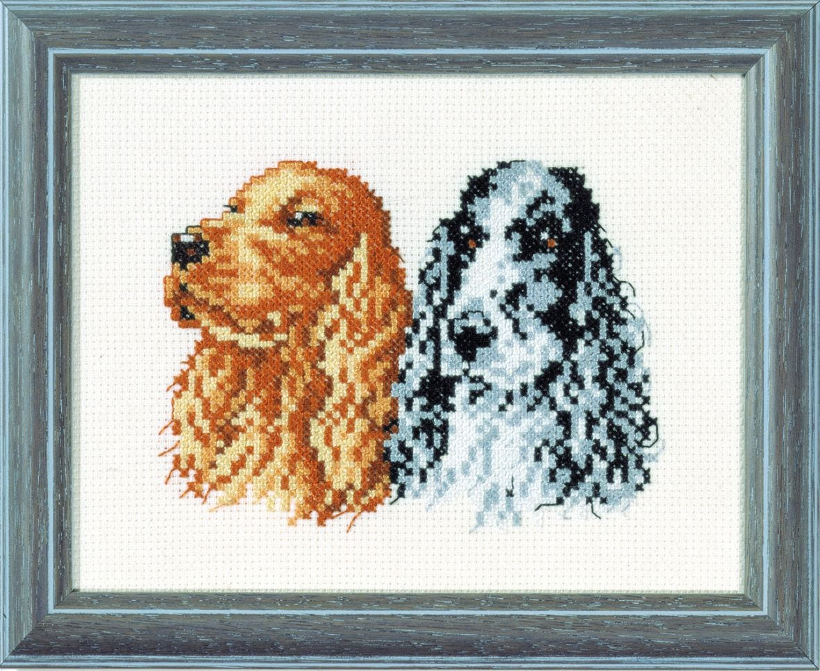 embroidery kit pair of cocker spaniels
