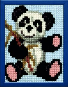 Embroidery kit pandabeer for children, printed