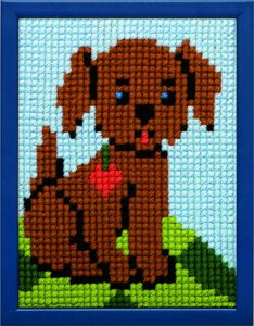 Embroidery kit puppy dog for children, printed.