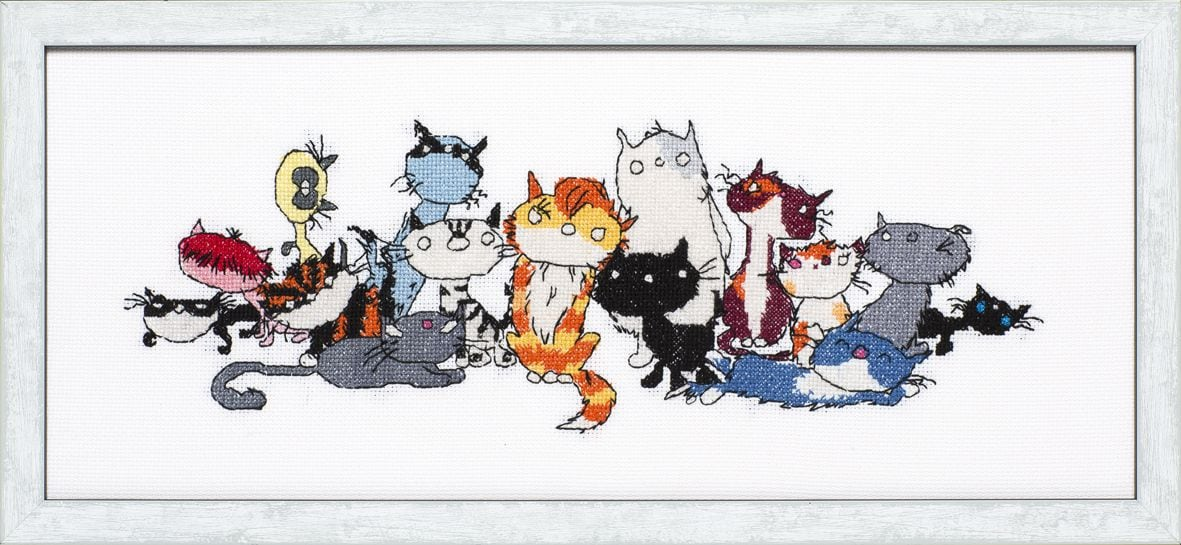 embroidery kit street cats pim pom