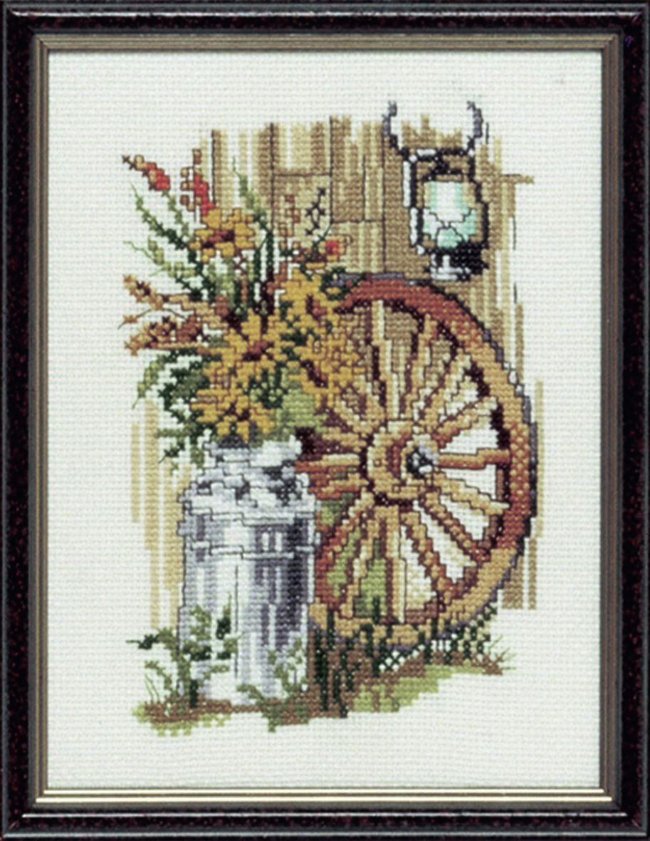 embroidery kit sunflowers with cart wheel