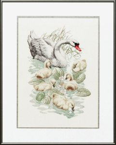 Embroidery kit swan family