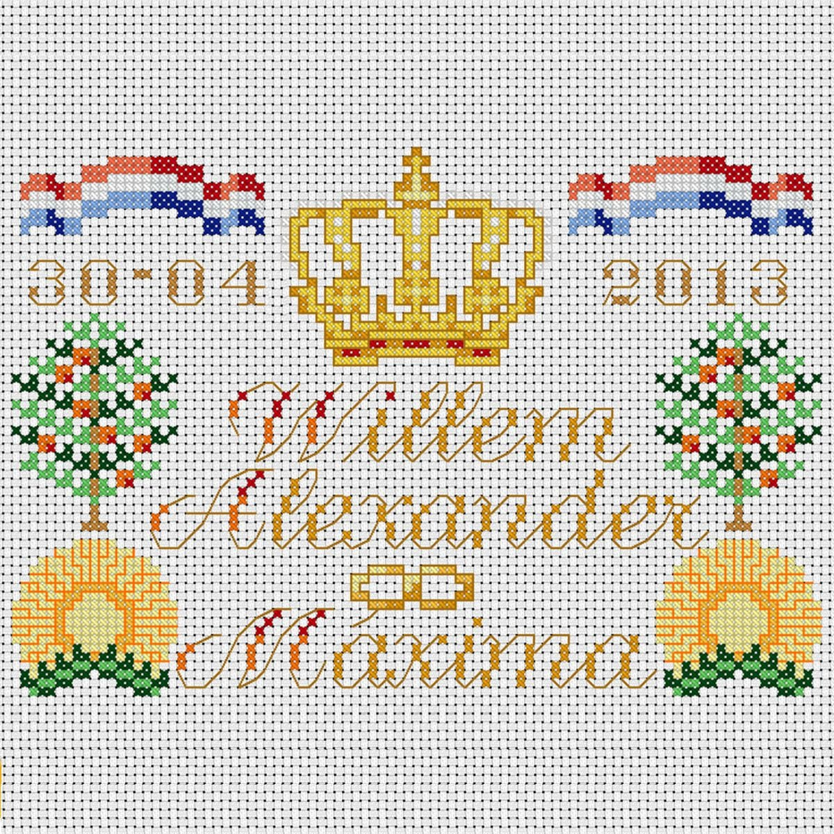 embroidery kit tile of the coronation of king willemalexander