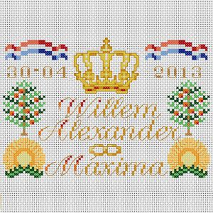 Embroidery kit tile of the coronation of king Willem-Alexander