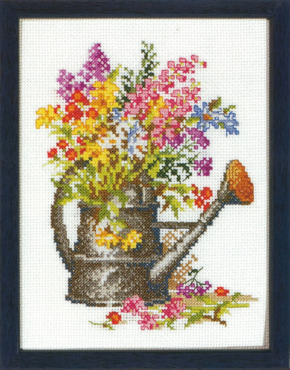 embroidery kit watering can flowers
