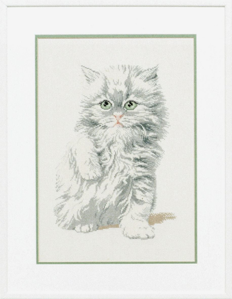embroidery kit white fluffy kitten