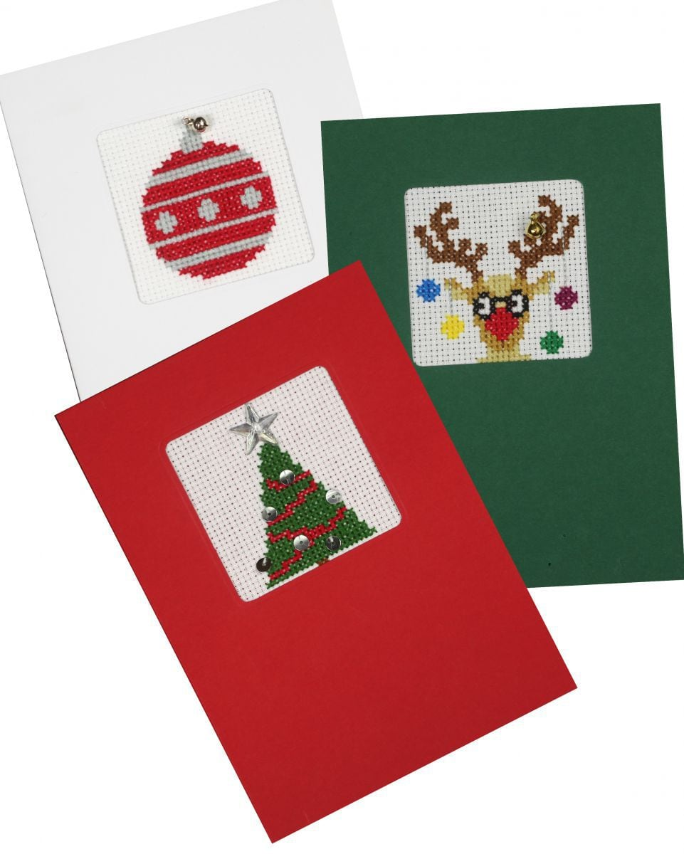 embroidery kit with 3 christmas card envelops