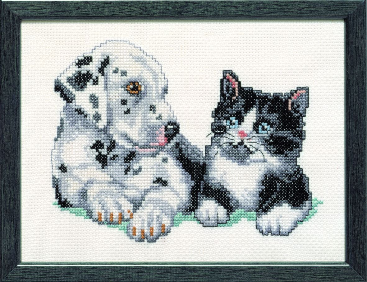 embroidery kit young dalmation and sweet kitty