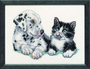 Embroidery kit young dalmation and sweet kitty.