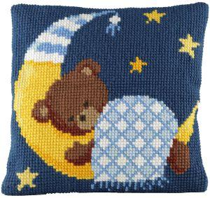 kinder kussen beer blauw borduurpakket