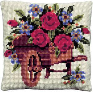 kussen bloemen in kruiwagen borduurpakket