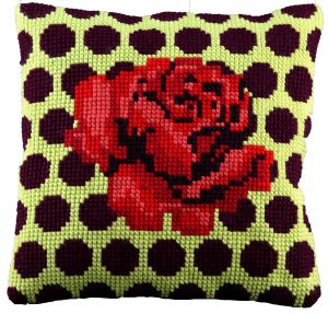 Kussen rode roos borduurpakket