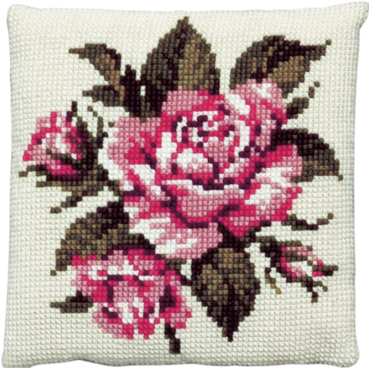 kussen roze rode roos borduurpakket