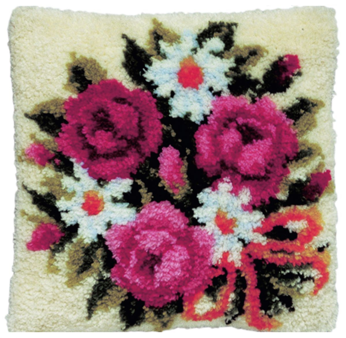 latch hook cushion kit bouquet flowers