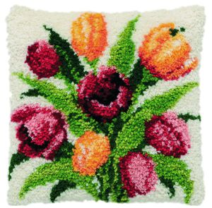 Latch hook cushion kit dutch tulips