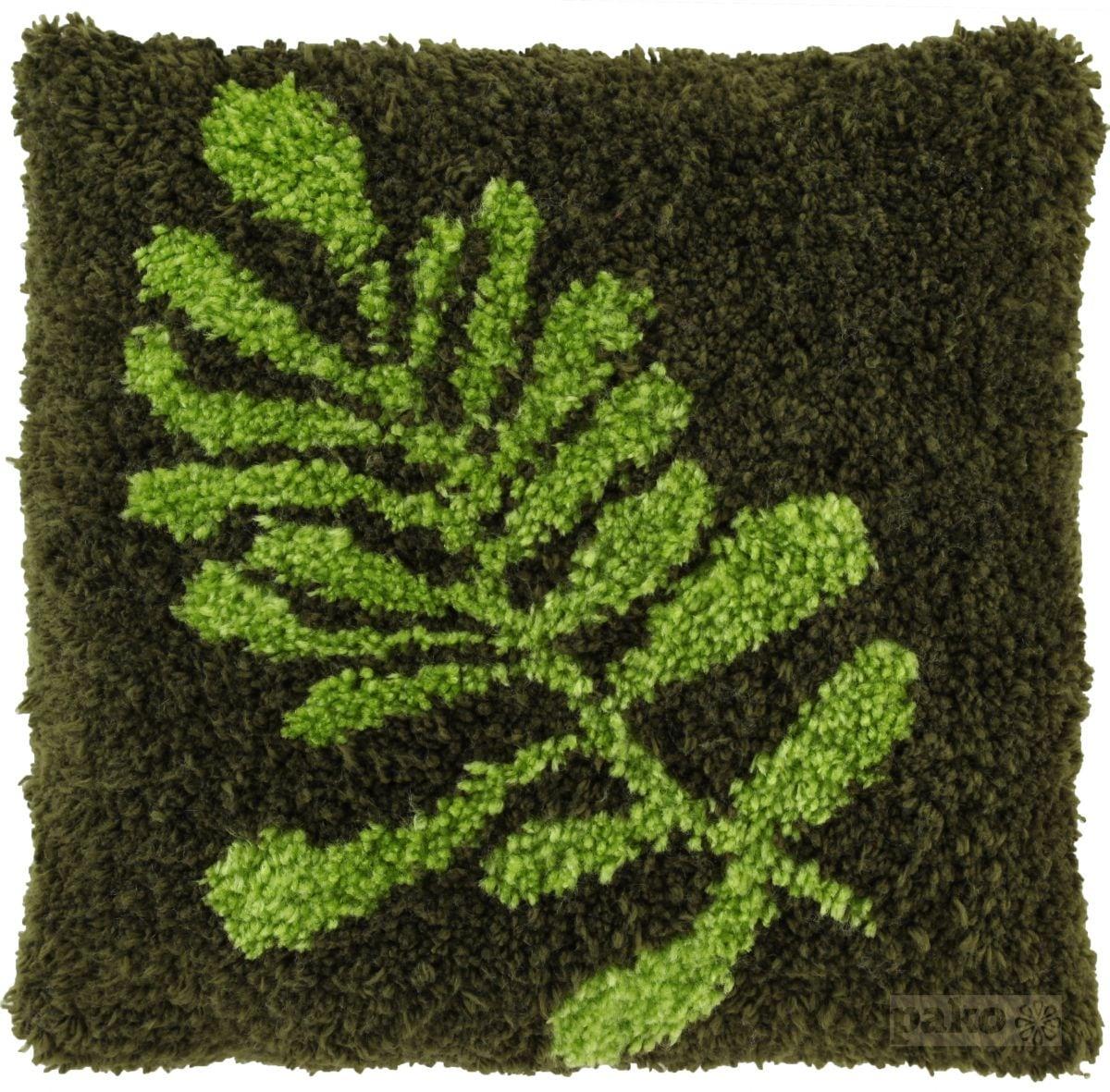 latch hook cushion kit leaf green