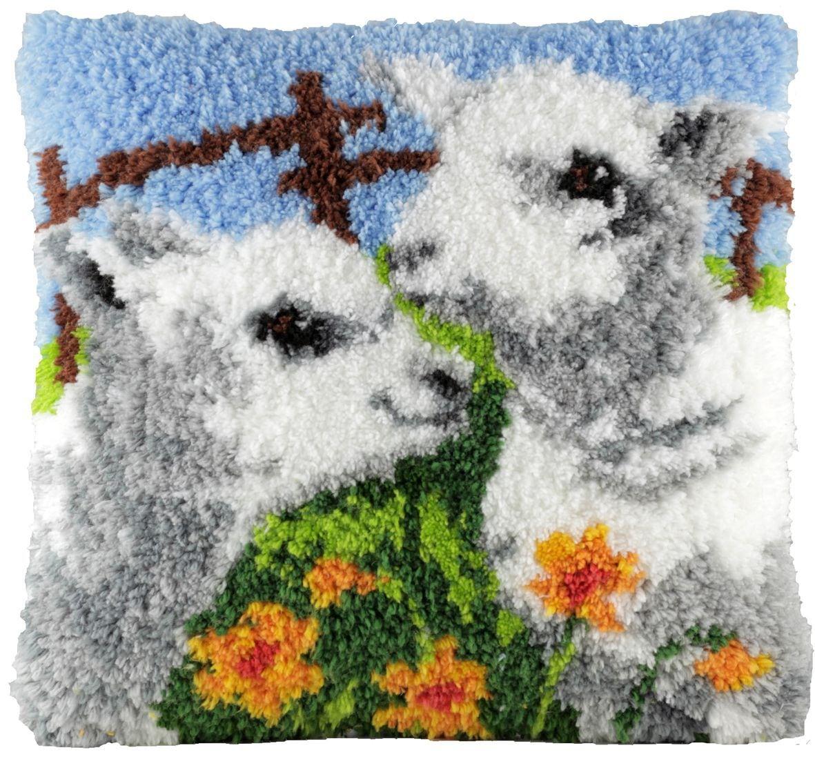 latch hook cushion kit lovable lambs