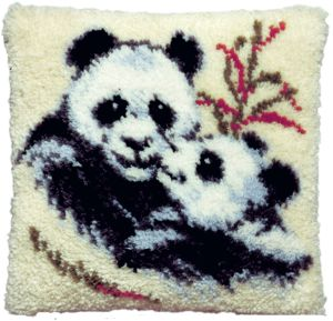 Latch hook cushion kit panda bears