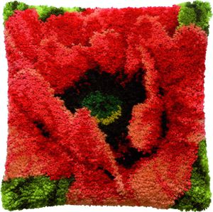 Latch hook cushion kit poppy