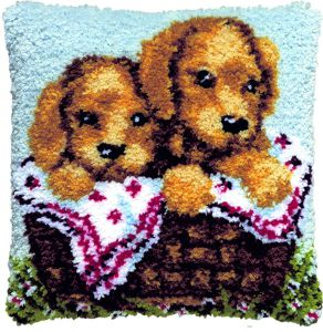 Latch hook cushion kit puppies