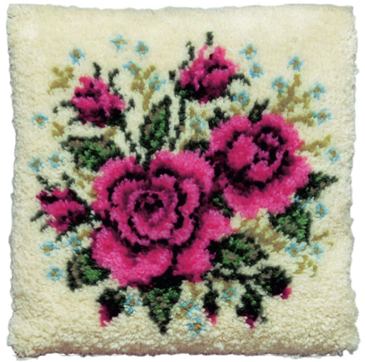 latch hook cushion kit red roses