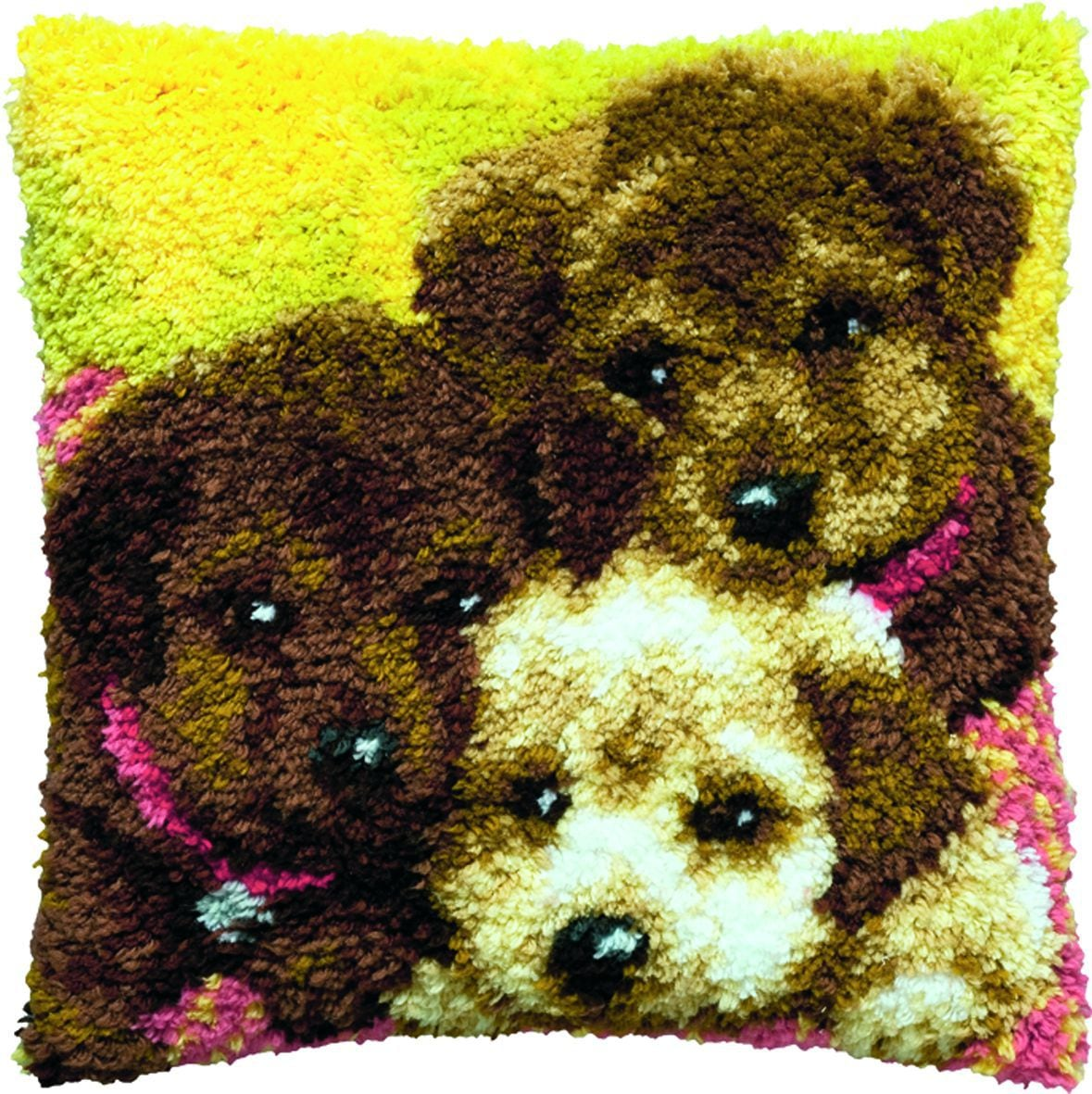 latch hook cushion kit three puppies