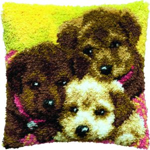 Latch hook cushion kit three puppies